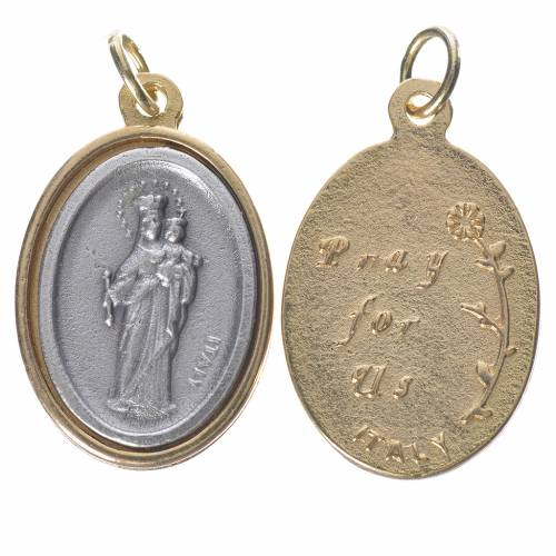Mary Help of Christians silver and golden medal 2.5cm 1