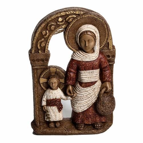 Mary of Nazareth in red stone, Bethléem 35cm s1