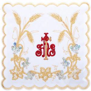 Altar linens: Mass linens 4 pcs. red IHS and golden ears of wheat
