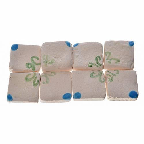 Mattonelle terracotta smaltate 60 pz blu decori verdi per presep s1