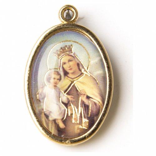 Medaglia Dorata con immagine Resinata Nostra Signora del Carmine s1