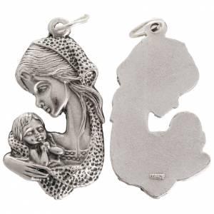Medaglia Madonna bambino in metallo ossidato 35 mm s1