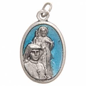 Medaglie: Medaglietta San Faustina galvanica argento antico blu 2,1 cm