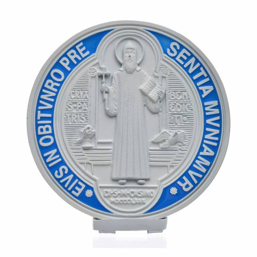 Médaille croix de Saint Benoît à poser 12,5 cm zamac blanc s1