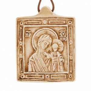 Sonstige Anhänger: Medaille Gottesmutter mit Kind aus Stein Bethleem