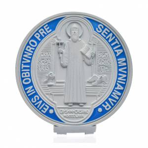 Benedikt Kreuze und Medaillen: Medaille Kreuz Sankt Benedikt Zamak-Legierung weiß 12,5 cm