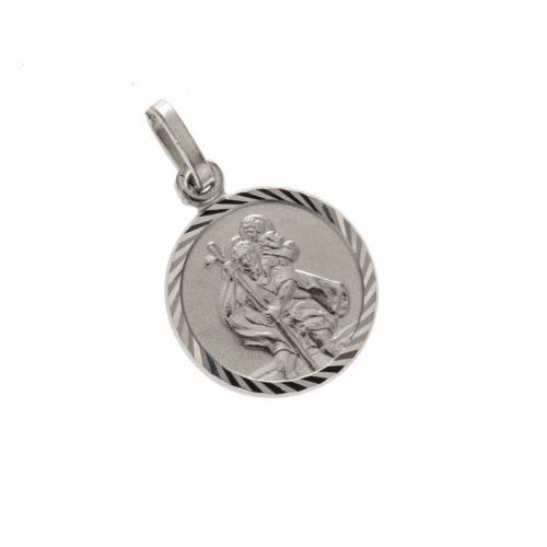 Médaille ronde argent 925 Saint Christophe 1.5 cm s1