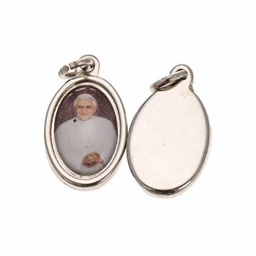 Medal in silver metal resin Benedict XVI 1.5x1cm s1