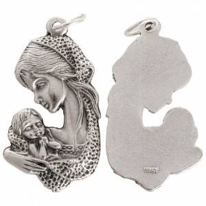 Medal with Virgin Mary and baby in oxidised metal 35mm s1