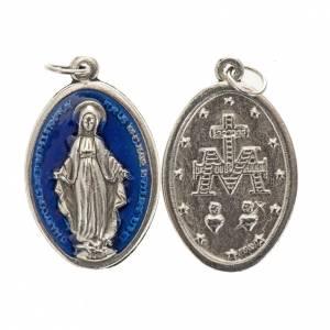 Medalla de la Milagrosa oval metal con esmalte azul 30mm s1