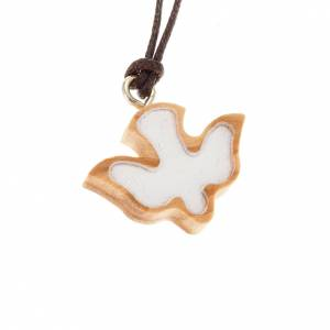 Colgantes Varios: Medalla de madera olivo paloma blanca