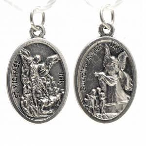 Medallas: Medalla devocional de San  Miguel de metal oxidado 20mm.