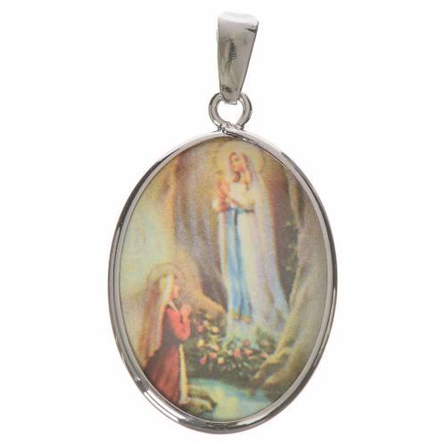 Medalla ovalada de plata, 27mm Lourdes s1