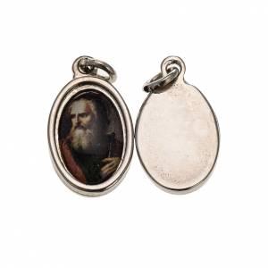 Medalla S. Paolo rostro. metal plateado resina 1,5x1cm s1