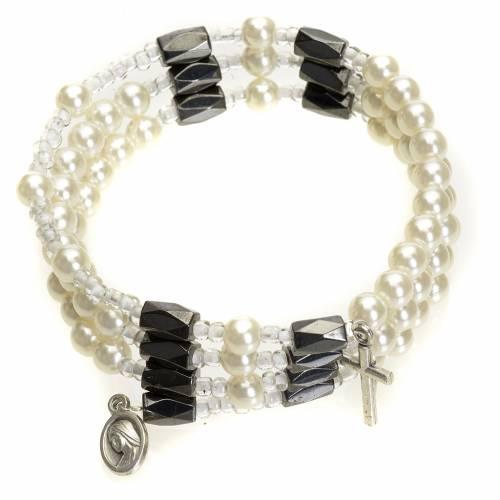 Medjugorije chapelet bracelet grains blancs s1