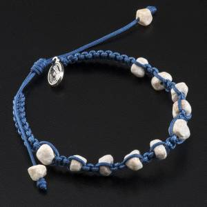 Bracelets, peace chaplets, one-decade rosaries: Medjugorje bracelet with stone and blue cord
