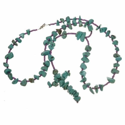 Medjugorje rosary beads in aqua green hard stones s3