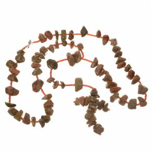 Medjugorje rosary beads in red marble coloured hard stones s3
