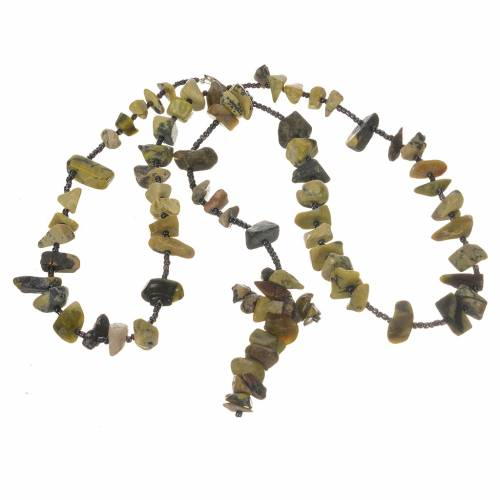 Medjugorje rosary beads in shades of green hard stones s3