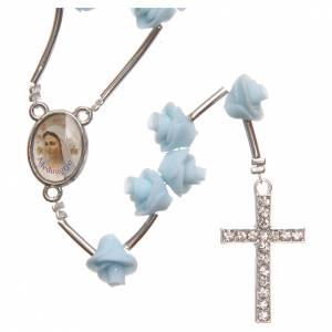 Rosaries and rosary holders: Medjugorje rosary beads with pale blue roses with cross in rhinestones