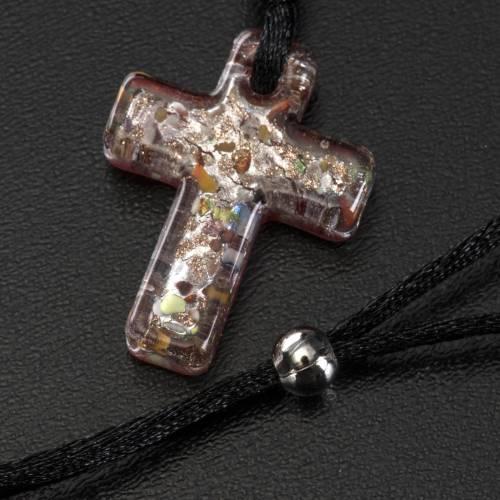 Medjugorje rosary, grains, cord, multicoloured glass cross s5