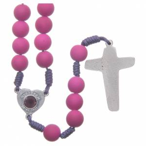 Rosaries and rosary holders: Medjugorje rosary in purple fimo with Medjugorje soil