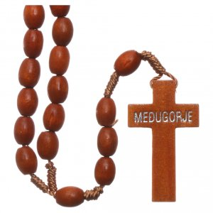 Rosaries and rosary holders: Medjugorje rosary in wood with natural colour grains