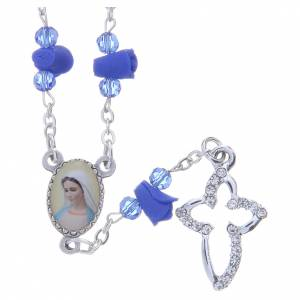 Rosaries and rosary holders: Medjugorje Rosary necklace with blue ceramic roses and icon of Our Lady