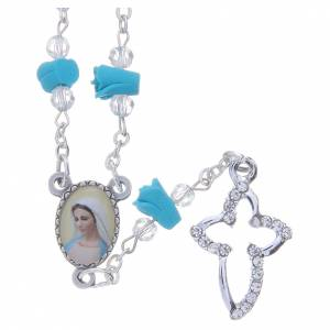 Rosaries and rosary holders: Medjugorje Rosary necklace with turquoise ceramic roses and icon of Our Lady