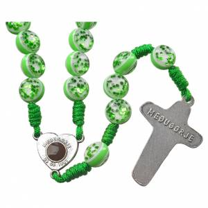 Medjugorje rosary with Medjugorje soil, green glass, cord s2