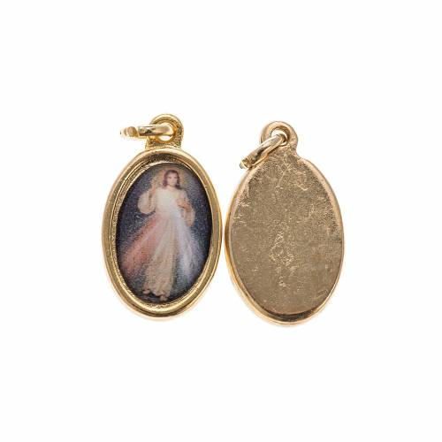 Merciful Jesus medal in golden metal and resin 1.5x1cm s1