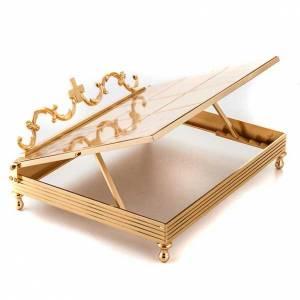 Tischpulte: Messbuchpult vergoldetes Messing, Kreuz