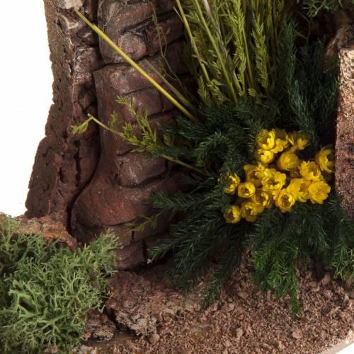 Mezzo arco con mattoni e fiori per presepe s5