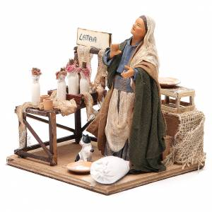 Milk seller with stall, animated Neapolitan Nativity figurine 14cm s2