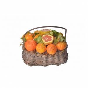 Mini panier oranges en cire pour crèche 10x7x8cm s1