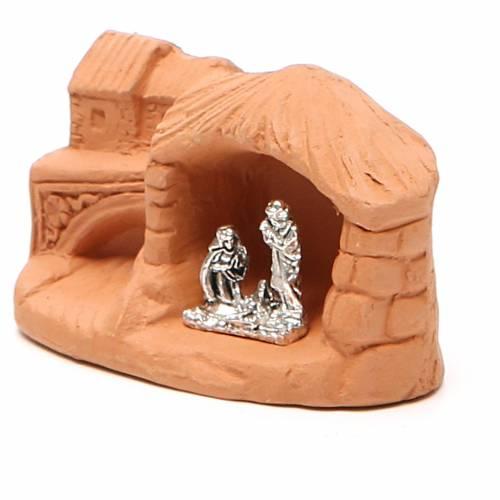Miniature Nativity natural terracotta 5x4x7cm s2