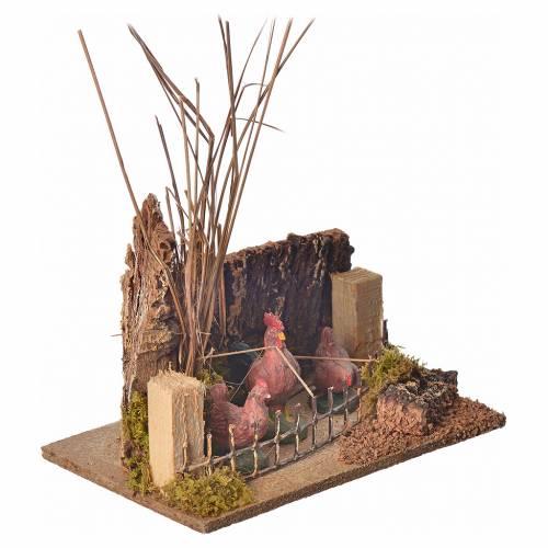 Minidécor pour crèche coq et poules 10cm s2