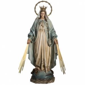 Statuen aus gemalten Holz: Miraculosa Faserholz 100 cm, mit Augen aus Kristall