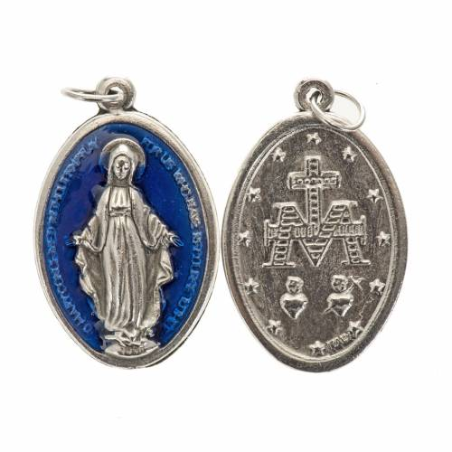 Miraculous Medal, oval in metal and blue enamel H30mm s1