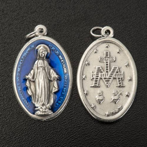 Miraculous Medal, oval in metal and blue enamel H30mm s2
