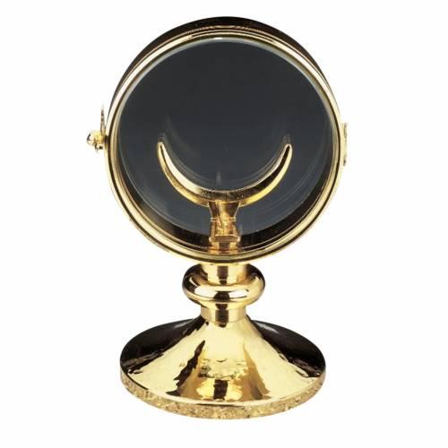 Monstrance, gold-plated brass, glass case 11 cm diameter s1
