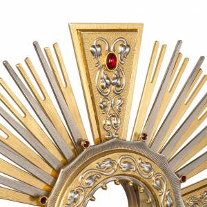 Monstrance in brass with figurines in bronze, with red stones s2