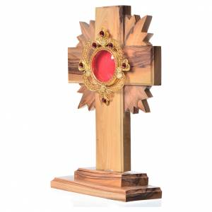 Monstrances, reliquaries in olive wood: Monstrance in olive wood with rays H15cm, display 800 silver sto