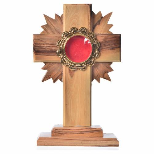 Monstrance in olive wood with rays H15cm, display in golden meta s1