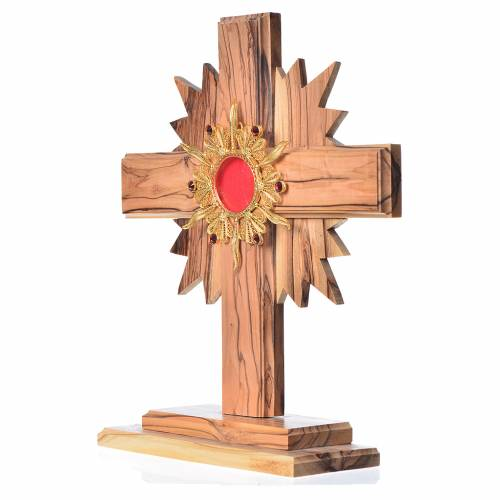 Monstrance in olive wood with rays H20cm, display 800 silver sto s2