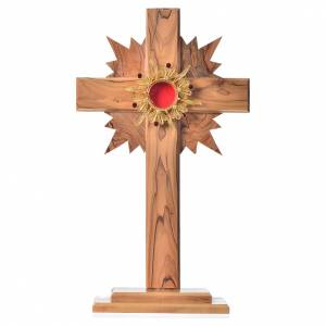 Monstrance in olive wood with rays H29cm, display golden 800 sil s1