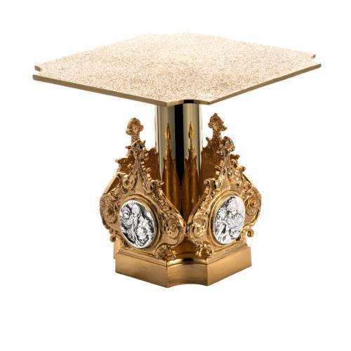 Monstrance throne in brass with 4 evangelists s1