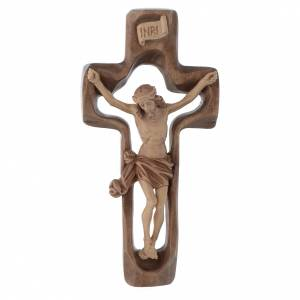 Wooden crucifixes: Moulded crucifix in multi-patinated Valgardena wood
