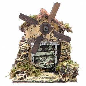 Crèche Napolitaine: Moulin à vent 13x10,5x10 cm pale en bois crèche Naples