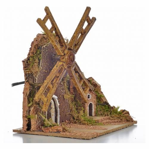 Moulin à vent animé crèche 13x10x16 cm s2